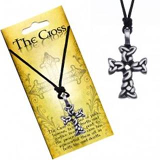 Čierny náhrdelník - šnúrka, kríž z prepletených oválov
