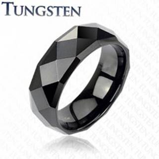 Čierny tungstenový prsteň s brúsenými kosoštvorcami, 6 mm - Veľkosť: 49 mm