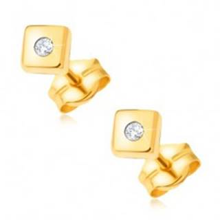 Diamantové zlaté náušnice 585 - lesklé štvorce s drobným čírym briliantom v strede