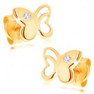 Diamantové zlaté náušnice 585 - lesklý motýľ s vyrezávanou časťou, číry briliant