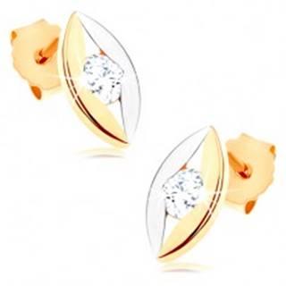 Dvojfarebné náušnice z 9K zlata - lesklé zrnko s úzkym výrezom a zirkónom