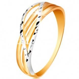 Dvojfarebný prsteň zo 14K zlata - rozvetvené a zvlnené línie ramien, zárezy - Veľkosť: 49 mm