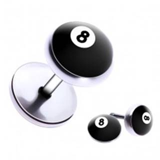 """Falošný piercing do ucha z ocele - biliardová guľa číslo """"8"""""""