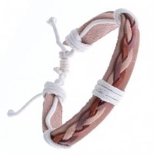 Kožený náramok – béžový, tri spletené šnúrky