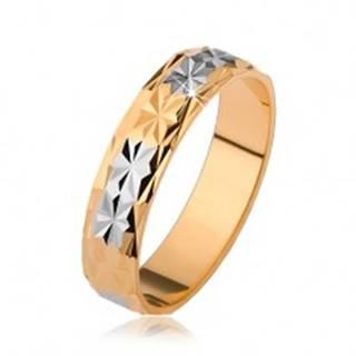 Lesklá obrúčka s diamantovým vzorom, zlatý a strieborný odtieň - Veľkosť: 51 mm