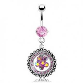 Luxusný piercing do pupku vykladaný kvet