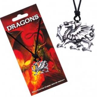 Náhrdelník so šnúrkou, dutý prívesok, profil draka