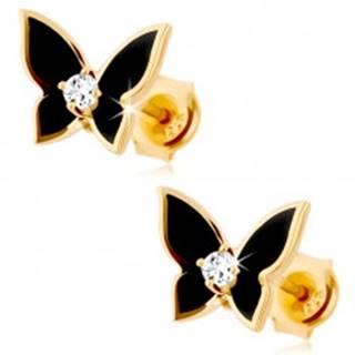 Náušnice v žltom 9K zlate - malý motýlik pokrytý čiernou glazúrou, číry zirkón