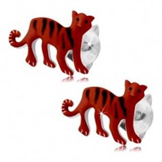Náušnice zo striebra 925, červený tiger s čiernymi pásikmi, puzetky