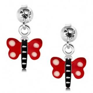 Náušnice zo striebra 925, motýľ s červenými krídlami a bielymi bodkami, krištáľ