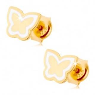 Náušnice zo žltého 9K zlata - lesklý plochý motýlik, kontúra z bielej glazúry