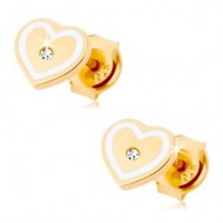 Náušnice zo žltého 9K zlata - srdiečko so zirkónikom a obrysom z bielej glazúry