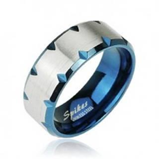 Oceľový prsteň modrý - zárezy na okraji - Veľkosť: 49 mm