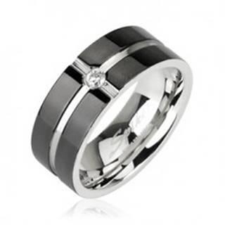 Oceľový prsteň - vzor kríž, zirkón uprostred - Veľkosť: 49 mm