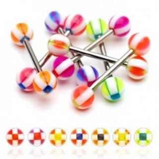 Piercing do jazyka gulička so štvorčekmi - Farba piercing: Červená