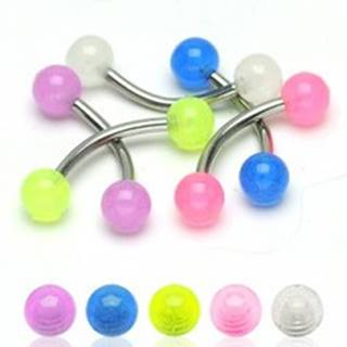 Piercing do obočia - priesvitné guličky 4mm - Farba piercing: Biela