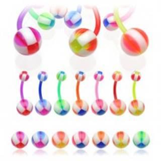 Piercing do pupka Multicolor Balla - Farba piercing: Červená
