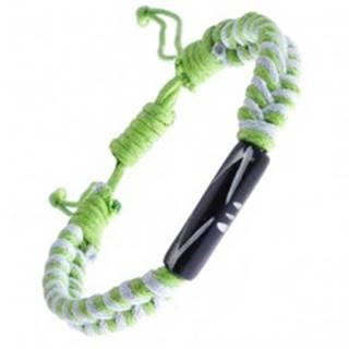 Pletený náramok zo šnúrok - bielo-zelený, vyrezávaný valček