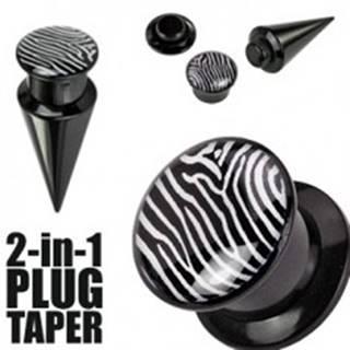 Plug a taper čierny a zebrovaný - Hrúbka: 10 mm