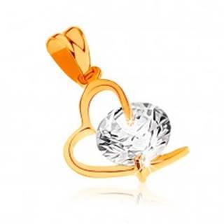 Prívesok zo žltého 9K zlata - kontúra asymetrického srdca, veľký číry zirkón