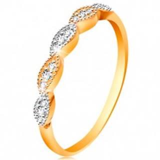 Prsteň v 14K zlate - dvojfarebné zrnká so vsadenými zirkónikmi, lesklé ramená - Veľkosť: 49 mm