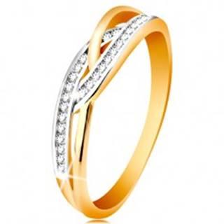Prsteň v 14K zlate - prepletené rozdelené ramená, okrúhle číre zirkóny - Veľkosť: 49 mm