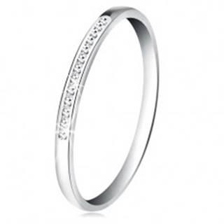 Prsteň v bielom 14K zlate - ligotavá línia drobných čírych zirkónikov - Veľkosť: 50 mm