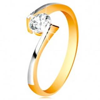 Prsteň zo 14K zlata - číry zirkón medzi zúženými a zahnutými koncami ramien - Veľkosť: 48 mm