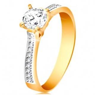 Prsteň zo 14K zlata - ligotavý okrúhly zirkón čírej farby, zirkónové ramená - Veľkosť: 48 mm