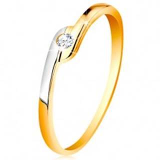 Prsteň zo 14K zlata - okrúhly číry zirkón, dvojfarebné predĺžené konce ramien - Veľkosť: 49 mm