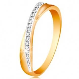 Prsteň zo 14K zlata - prekrížená hladká a trblietavá línia z čírych zirkónikov - Veľkosť: 49 mm