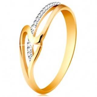 Prsteň zo 14K zlata, rovné a zvlnené rameno, drobné číre zirkóniky - Veľkosť: 49 mm
