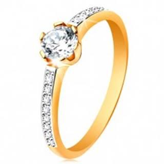 Prsteň zo 14K zlata - žiarivý okrúhly zirkón čírej farby, zirkónové ramená - Veľkosť: 48 mm