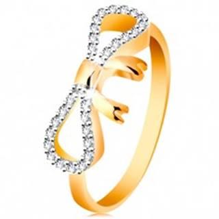Prsteň zo 14K zlata - zirkónmi a bielym zlatom zdobená mašlička, úzke ramená - Veľkosť: 49 mm