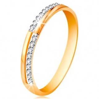 Prsteň zo zlata 585 - úzke línie z čírych ligotavých zirkónikov, lesklé ramená - Veľkosť: 49 mm