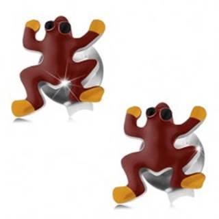 Puzetové náušnice, striebro 925, červeno-žltá žabka s čiernymi očkami