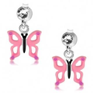 Strieborné 925 náušnice, číry krištálik, motýľ s ružovými krídlami a výrezmi