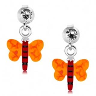 Strieborné 925 náušnice, motýlik s červeným telom a oranžovými krídlami