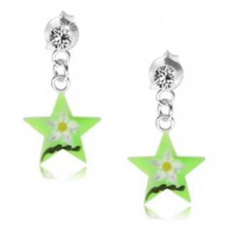 Strieborné náušnice 925, zelená hviezda s kvetom, číry Swarovski krištáľ