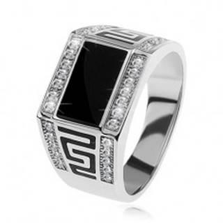 Strieborný prsteň 925, čierny obdĺžnik, číre ligotavé kamienky, grécky kľúč - Veľkosť: 54 mm