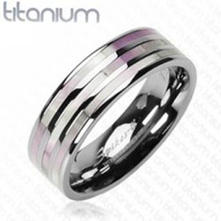 Titánový prsteň - tri perlové pruhy - Veľkosť: 59 mm