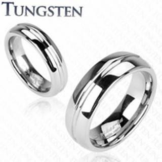 Tungstenový prsteň, vrytý stredový pruh - Veľkosť: 49 mm