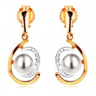Zlaté náušnice 585, dvojfarebná asymetrická slza, biela perla, zirkóny