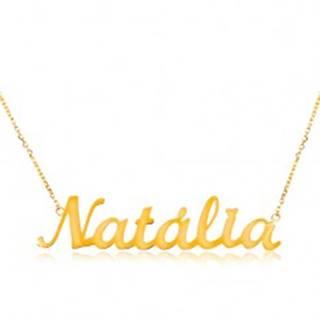 Zlatý 14K náhrdelník - tenká retiazka z oválnych očiek, lesklý prívesok Natália