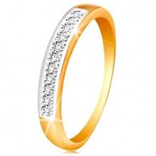 Zlatý 14K prsteň - ligotavý pás z čírych zirkónov s lemom z bieleho zlata - Veľkosť: 48 mm