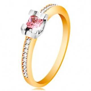 Zlatý 14K prsteň - trblietavé ramená, okrúhly ružový zirkón v kotlíku z bieleho zlata - Veľkosť: 49 mm