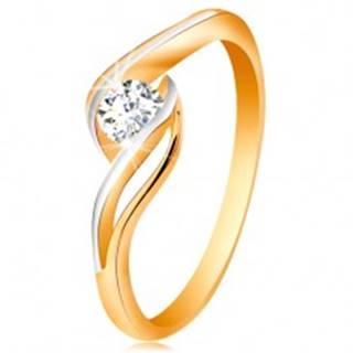 Zlatý prsteň 585 - číry zirkón, dvojfarebné, rozdelené a zvlnené ramená - Veľkosť: 49 mm