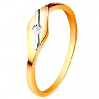 Zlatý prsteň 585 - lesklé zrnko, šikmá línia z bieleho zlata a číry zirkónik - Veľkosť: 49 mm