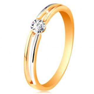 Zlatý prsteň 585, tenké dvojfarebné ramená s výrezom a čírym zirkónom - Veľkosť: 49 mm