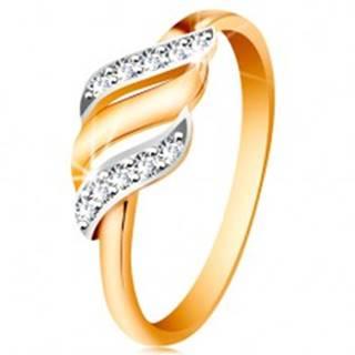 Zlatý prsteň 585 - tri vlnky z bieleho a žltého zlata, trblietavé číre zirkóny - Veľkosť: 49 mm